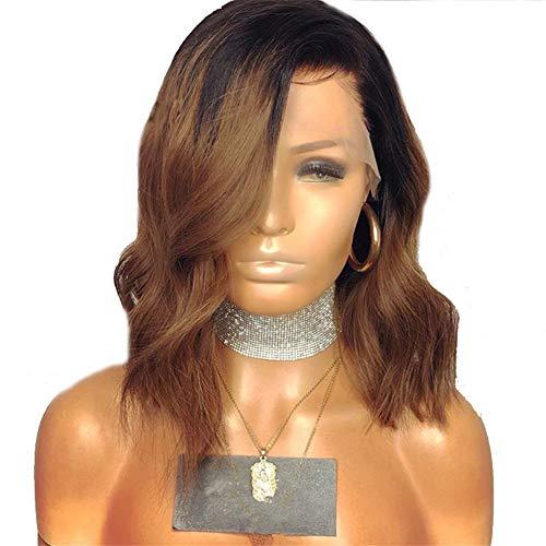 Perücke, lockiges Haar, Lace-Front, lockig, Schwarz bis Braun, lockig, Afro-Perücke, Echthaar, Lace-Front, kurz, flauschig, gewellt, 35,6 cm (braun) (LS-223) - Afro-echthaar Perücken