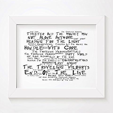 'Noir Paranoiac` Poster Affiche d'art - The TRAVELING WILBURYS - The Travelling Wilburys Vol.1 - Edition signée et numérotée limitée typographie non encadré 20 x 25 cm la musique album mur art haute qualité d'impression - Song lyrics music poster