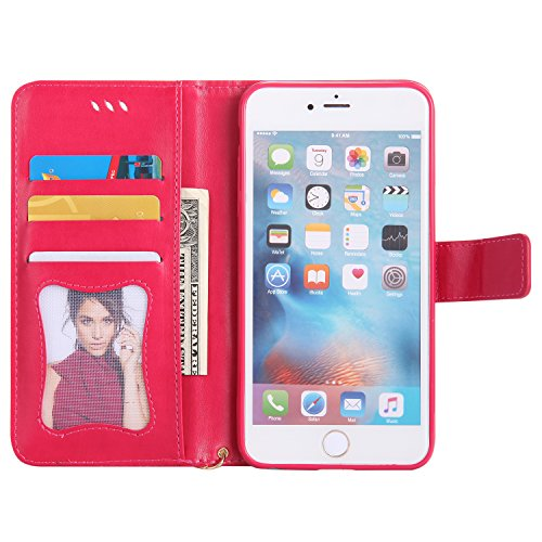 iPhone 6 Plus Hülle Flip-Case Premium Kunstleder Tasche im Bookstyle Klapphülle mit Weiche Silikon Handyhalter Lederhülle für iPhone 6 Plus (5.5 Zoll) Luminous Mädchen Katze case Hülle +Stöpsel Staubs 3