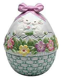Spring Easter Decorative Egg Shaped Cookie Treat Jar