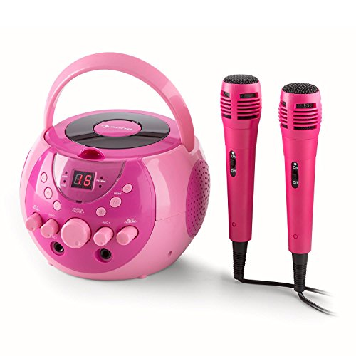 Preisvergleich Produktbild auna SingSing Karaoke Anlage Kinder Karaoke Player (2 x Mikrofon, CD-Player, Echo-Effekt, Video-Ausgang, Multicolor-LED-Lichteffekt) pink