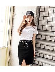 YFF Women's Cool Haut asymétrique taille Grande taille H-line jupe courte Denim,2XL