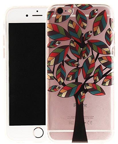 Nnopbeclik [Coque Iphone 6 Silicone / Coque Iphone 6S Apple ] Transparente élégant Style de Impression Couleur Motif Doux Backcover Case Housse pour Iphone 6 Coque Apple / Iphone 6S Coque Silicone (4. arbre4