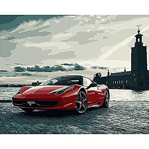 Von Berühmten Menschen Kostüm - yhwygg DIY Ölgemälde DIY Berühmte Auto Sport Auto Landschaft Leinwand Kunst Bild Acryl Färbung Digital Home Decoration - (40X50 cm) Mit Rahmen Malen Nach Zahlen