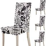 teerfu 4 fundas elásticas cortas extraíbles para silla, para comedor, boda, fiesta, banquetes,...