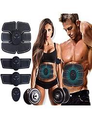 ATETION MASOMRUN Electrostimulateur Musculaire Entraînement Abdominal/Cuisse/Bras Muscle EMS Forme d'exercice Fitness,Ceinture Abdominale Electrostimulation et 10 Coussinets de Gel (MASOMRUN) (Noir)
