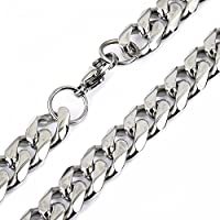 Trendsmax 10mm Wide Heavy Huge Mens Boys Silver Tone Curb Cuban Necklace Chain Link 316L Stainless Steel