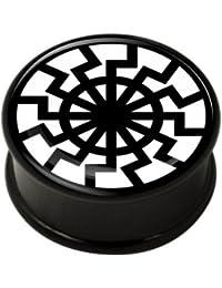 Fleischtunnel, Innengewinde, Black Sun, schwarz, Acryl, Größen: 8mm bis 30mm Wird einzeln verkauft
