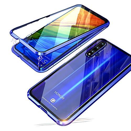 cover per huawei honor 20 pro (6,26 pollice), jonwelsy 360 gradi anteriore e posteriore vetro temperato trasparente custodia, tecnologia di adsorbimento magnetico bumper metallo per honor 20 pro (blu)