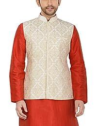 Manyavar Men's Banded Collar Blended Nehru Jacket (J952136)