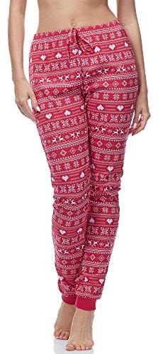 Ladeheid Damen Schlafanzugshose LA40-121 (Muster-5 Rot, L) (Rot Pyjama-hose)