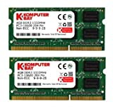Komputerbay 8GB (2X4GB) DDR3 SODIMM (204 pin) 1333Mhz PC3-10600 (9-9-9-25) Laptop Notebook Speicher für Apple iMac