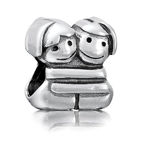 Andante-Stones 925 Sterling Silber Bead Charm ** Sich umarmende Freundinnen ** Element Kugel für European Beads + Organzasäckchen
