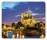 Paris Mouse Pad, Notre Dame Cathedral at Dusk Paris France Riverside Scenery Water Reflection, Standard Size Rectangle Non-Slip Rubber Mousepad, Yellow Brown Blue