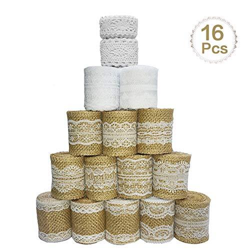Sparta's store 16 kit di rotoli di nastri di pizzo in iuta di tela naturale include 12× rotoli di nastro di tela di iuta con pizzo, 2 ×merletto bianco pizzo nastro e 2× merletto cotone pizzo!