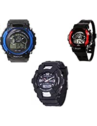 PETER INDIA Digital Sports Black Blue & Black S SHOCK&Red Sports Watch Combo 7 Lights For Kids