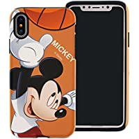 iPhone X Case [Heavy Drop Protection] DISNEY Cute Mickey Mouse Layered Hybrid [TPU + PC] Bumper Cover [Shock Absorption] for Apple iPhone X - Basket Ball Mickey Mouse