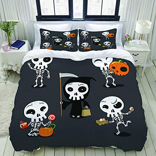 MOBEITI Bettwäsche-Set, Mikrofaser,Orange glückliches Halloween-Skeleton Karikatur-Schädel-Kostüm-gespenstischer Anziehungskraft-Herbst,1 Bettbezug 135 x 200cm+ 2 Kopfkissenbezug 80x80cm