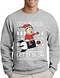 Nordkoreanische Weihnachten Männer Weihnachtspullover - Let It Blow Sweatshirt Medium Grau