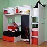 Mrsflatpack RUTLAND HIGH SLEEPER CABIN BED RED/BLACK M1044RB