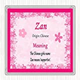 Zan Name Meaning Square Wall Plaque Pink