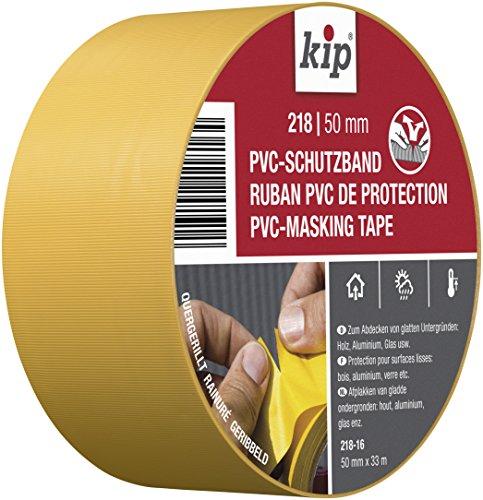 Kip 218 PVC-Schutzband Profi Abklebeband für Maler und Lackierarbeiten, 50 mm x 33 m, Gelb
