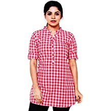 EASY 2 WEAR Women Checks Tunic Top (Sizes S to 6XL) Plus Sizes Also