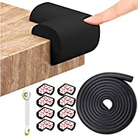 Corner Protectors for Kids Black + Edge Guard Protector, 12PCS Baby Safety Corner Cushion, 7meter Child Proofing Adhesive Edge Foam Bumper for Furniture, Table, Desk, Beds, Walls