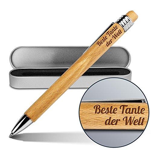 Kugelschreiber mit Namen Beste Tante der Welt - Gravierter Holz-Kugelschreiber inkl. Metall-Geschenkdose