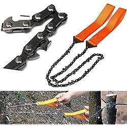 mark8shop Jardinage Orange poignée 65Scie main en acier manganèse Abattage d'extérieur portable à la main chaîne de tronçonneuse