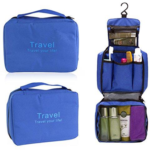 Tinksky Bolsa de Cosméticos Impermeable Organizador de Viaje Neceser con Gancho (Azul)