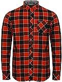 Para hombre franela compruebe camisa by Tokyo Laundry 'Wilding de manga larga Rojo Merlot Large