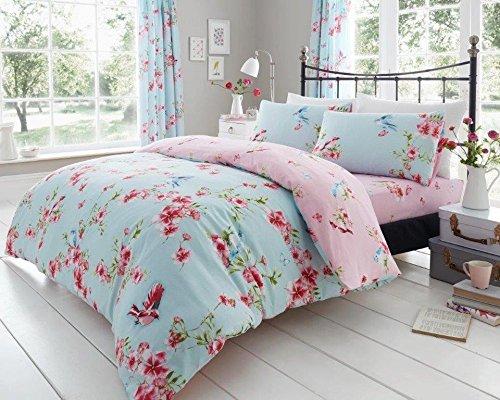 Uarehome Premium-Bettbezug-Set, 50 % Baumwolle / 50 % Polyester, Birdie Blossom Blue, Einzelbett