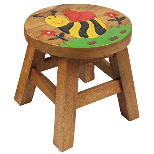 Kinderhocker Biene Hocker Rundhocker Holzhocker Sitz Kinder Stuhl ca. 25cm Durchmesser & Höhe Braun Holzfarben Natur Rot Limboholz Holz