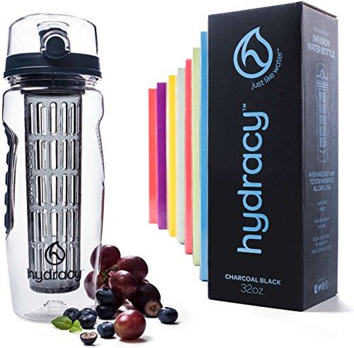 Hydracy Trinkflasche für Fruchtschorlen (1Liter) - Sport Wasserflasche Bpa Frei mit Langem Infuser und Isolierhülle + 27 Köstlichen Rezepten Aufgegossenes Wasser eBook Geschenk - Detox Sportflasche