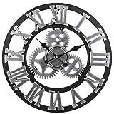 Soledì 3D Orologio Ingranaggio da Parete In Legno Europeo Retro Fatto a Mano (Argento)