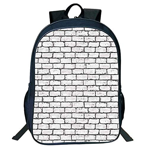 HOJJP Schultasche Stylish Unisex School Students Grey White,Grunge Brick Wall Background Urban Architecture Building Modern City Life Graphic Decorative,Grey Kids, - Brick Wall Graphics