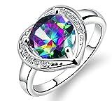 Bishilin Schmuck Vergoldet Ring Damen Herz mit Bunte Zirkonia Partnerring Ehering Silber Ringe Größe 54 (17.2)