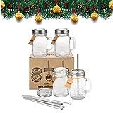 Ensemble de quatre pots avec couvercles et pailles Smiths Mason Jar, avec également un jeu supplémentaire de 4 couvercles sans trous et brosse de nettoyage pour paille