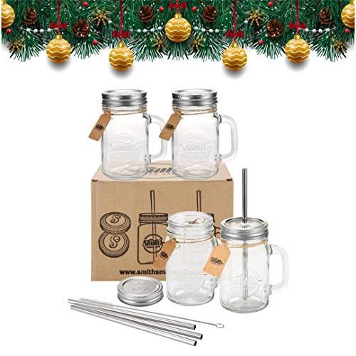 Smiths Einmachglas Set mit vier Gläsern mit Deckel und Strohhalmen. Auch mit zusätzlichem Satz mit vier Deckeln ohne Löcher und Strohreinigungsbürste erhältlich