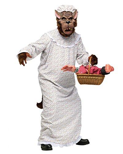 (Böser Wolf im Oma Nachthemd Märchenkostüm für Fasching, Halloween & Karneval)