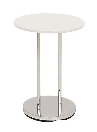 Peter Round Side Table Chrome High Gloss Chrome / White