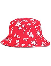 1fd570c1651 Ouneed Fashionable Bucket Hat Sun Visor Canvas Cap with Coconut Tree  Pattern Outdoor Hat