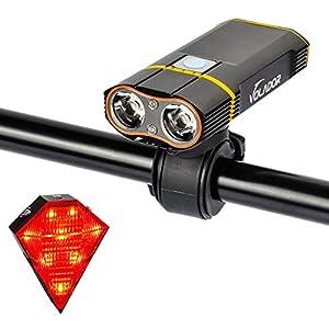 Cree Bike Light ,Volador 5 modo 1800 lúmenes Super brillante bicicleta luz delantera bicicleta faro, 2 Cree 2-XML LED impermeable bicicleta recargable faro con forma de diamante libre cola de la cola de la lámpara
