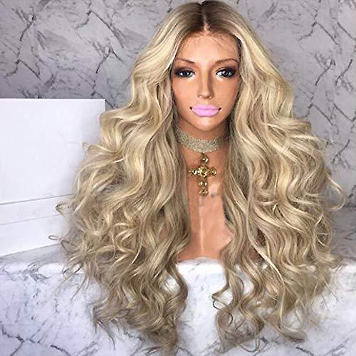 PKQ Perrücke Frauen, Blonde Perücke Lang Wellig Locken Hitzebeständige Faser Long Wave Gelockt Wigs for Women Kunsthaar für Karneval Cosplay Party Maskerade Mode Curly Haarteile 70cm Farbe (Blond)