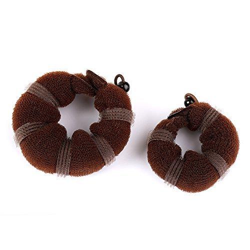 Sent Hair 2 Pieces Donut Hair Bun Maker Chignon Bun Maker Brown Small Large