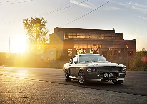 Poster Ford Mustang Shelby GT 500 Eleanor 1967 Muro di Tramonto Art 02