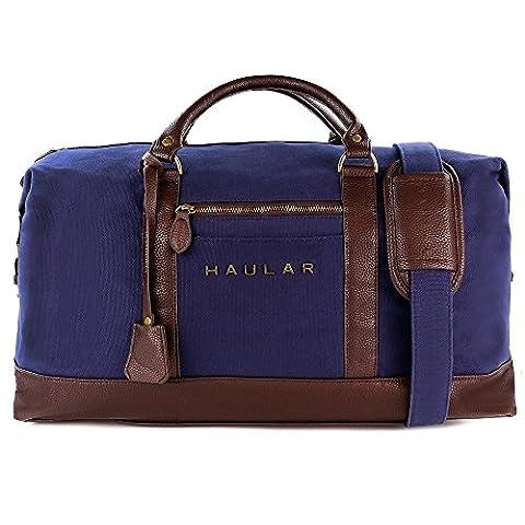 Reisetasche, Haular - Weekender Handgepäck Travelbag (Messing Verzierung) - Canvas (Blau)