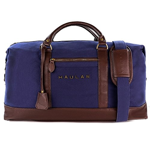 Reisetasche, Haular - Weekender Handgepäck Travelbag (Messing Verzierung) - Canvas (Navy)