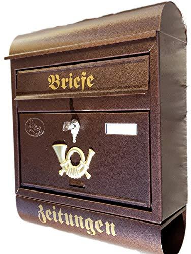 Eigenmarke Großer Briefkasten/Postkasten XXL Kupfer/Bronce mit Zeitungsrolle Runddach